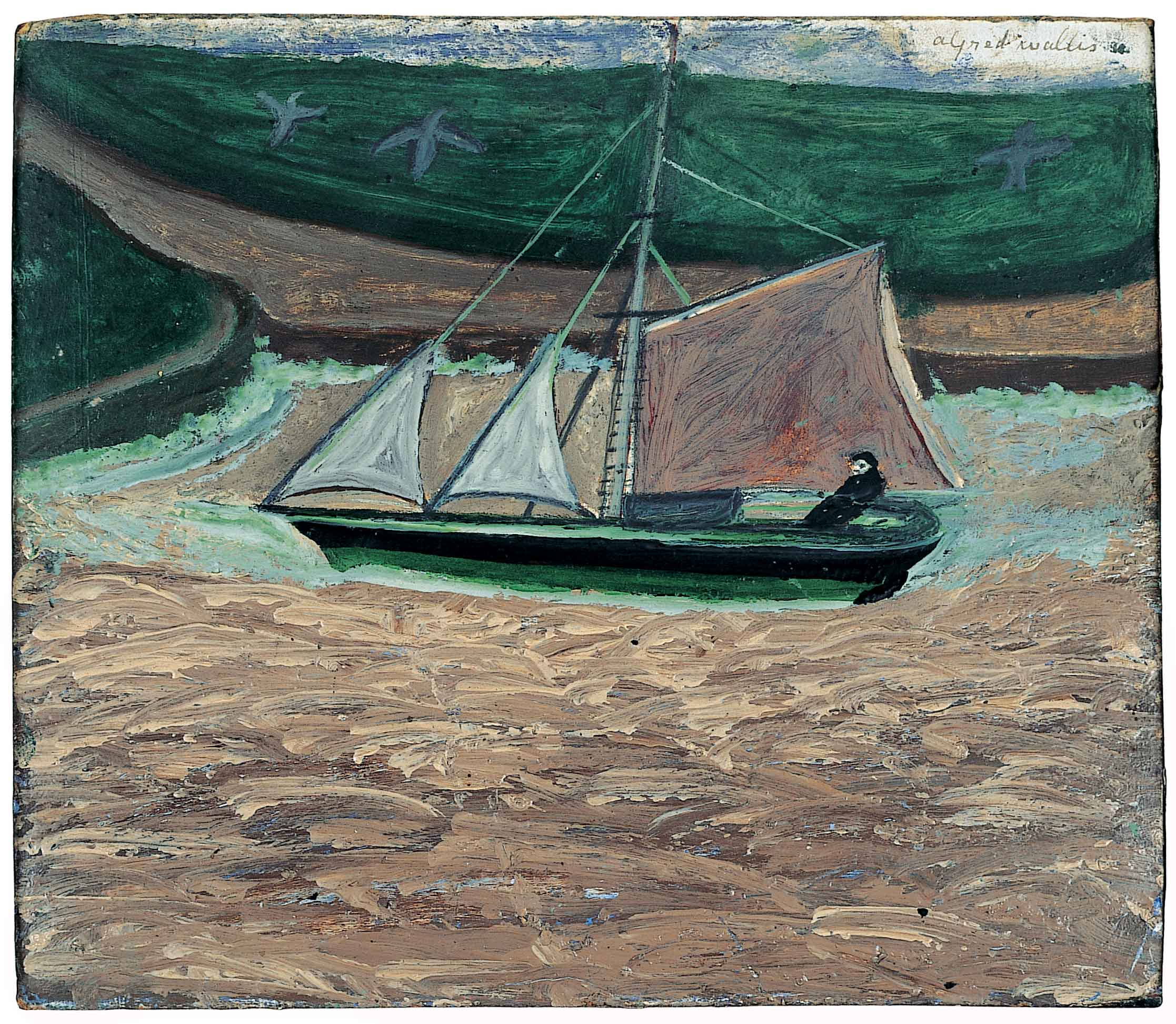 Alfred Wallis,  Yacht, pink and green  (recto)  c. 1934-8 oil and pencil on card