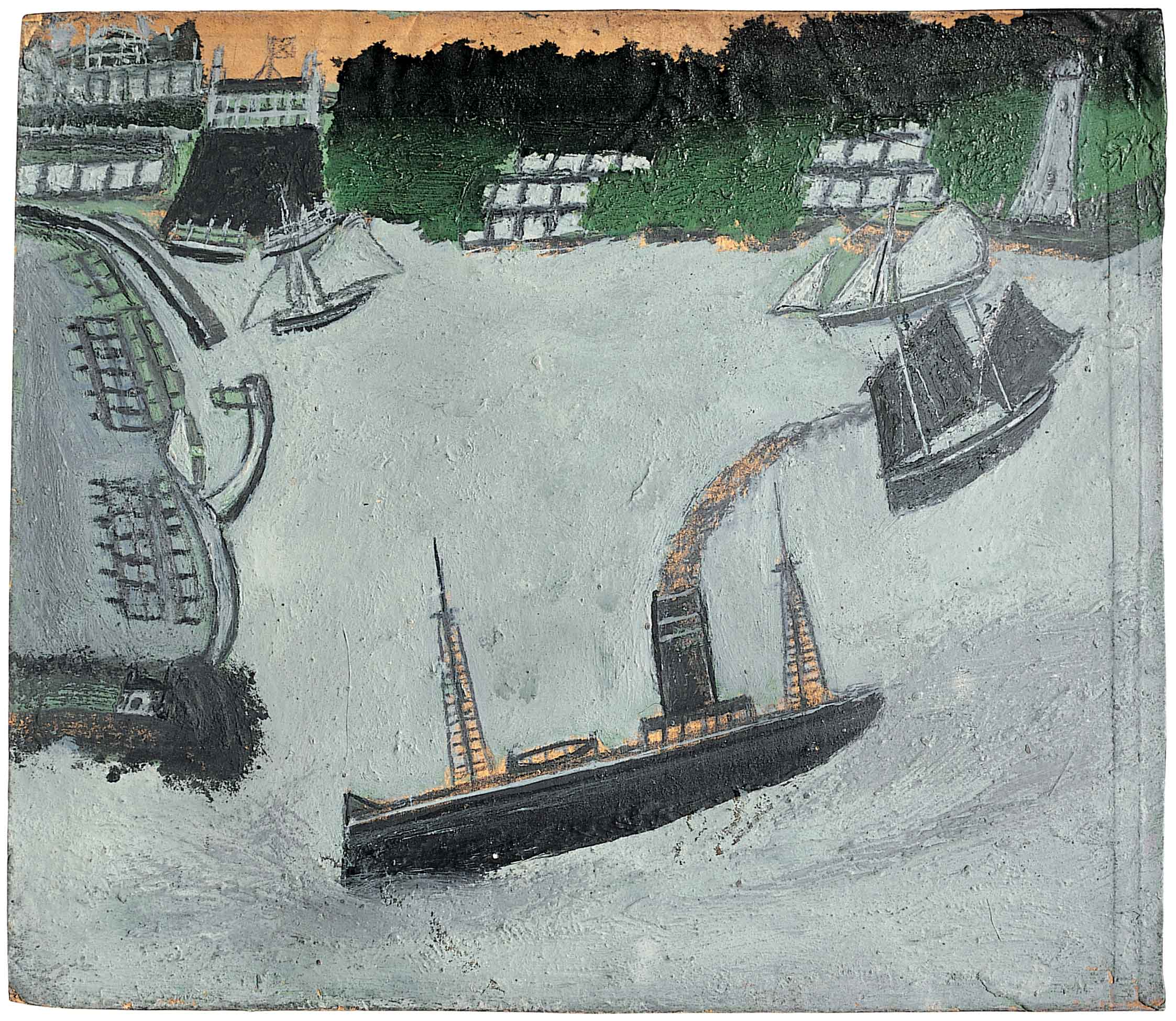 Alfred Wallis,  St Ives harbour and Godrey  (verso) c. 1934-8 oil and pencil on card