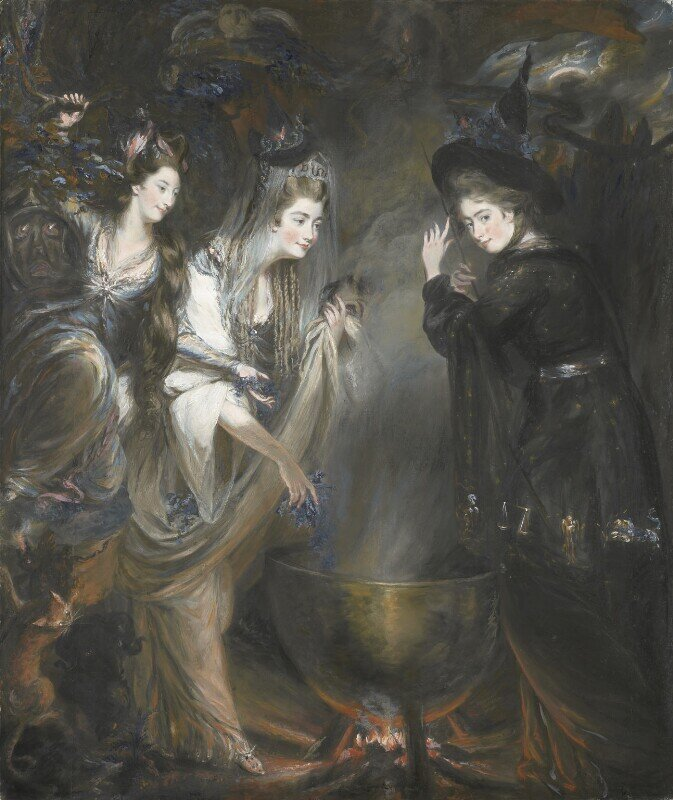 Image: The Three Witches from Macbeth (Elizabeth Lamb, Viscountess Melbourne; Georgiana, Duchess of Devonshire; Anne Seymour Damer) by Daniel Gardner, gouache and chalk, 1775 © National Portrait Gallery, London