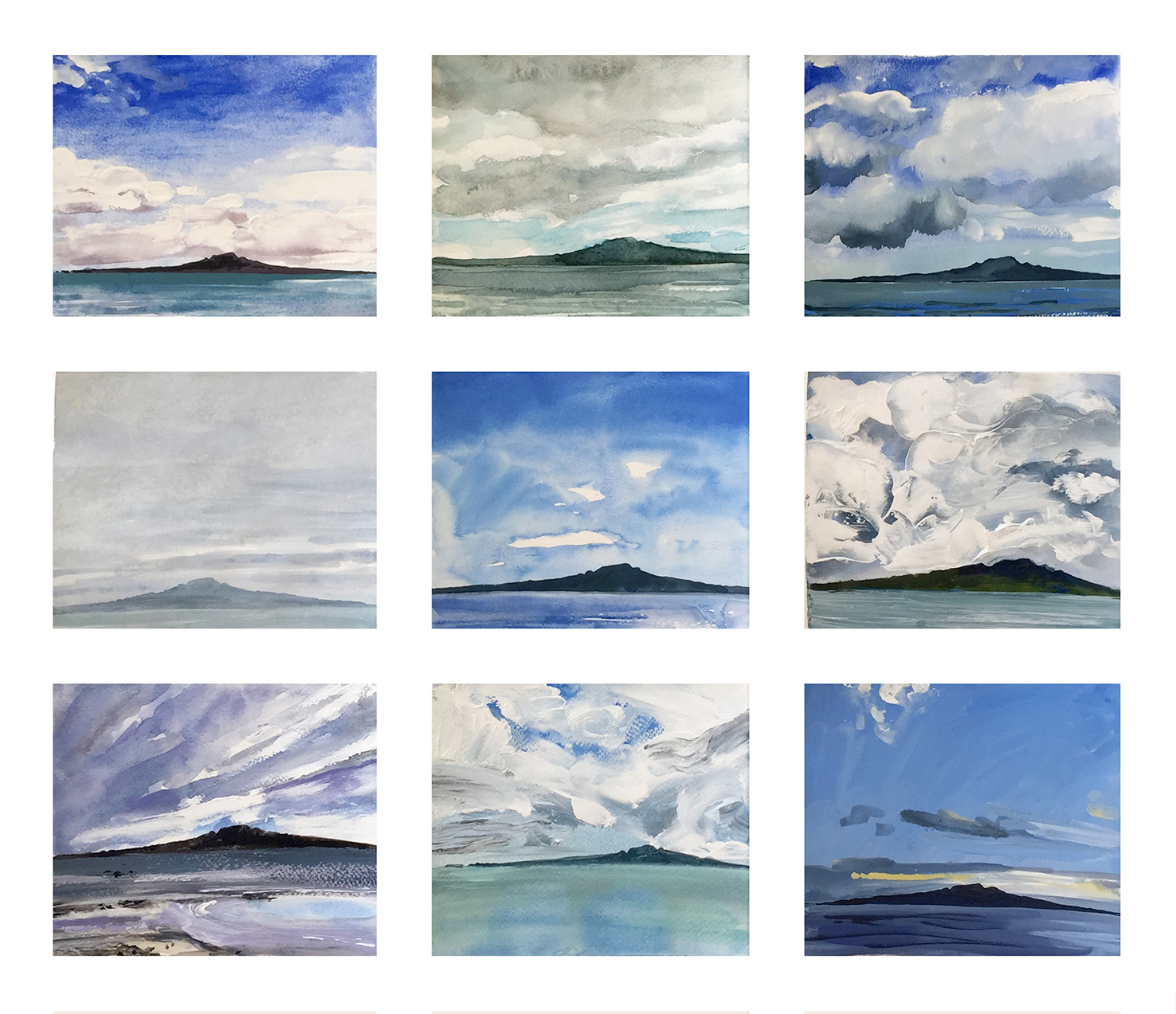Rangitoto studies of weather and light # 1 framed series of 9 originals