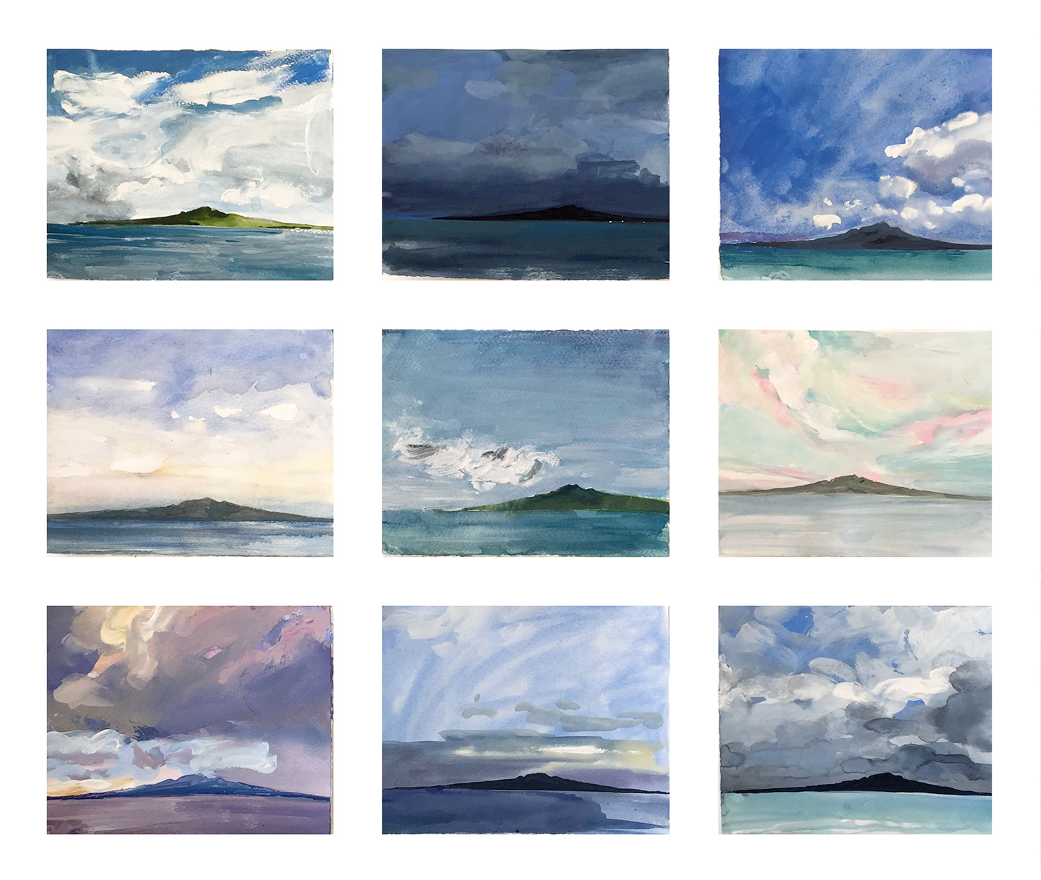 Rangitoto studies of weather and light # 2 framed series of 9 originals