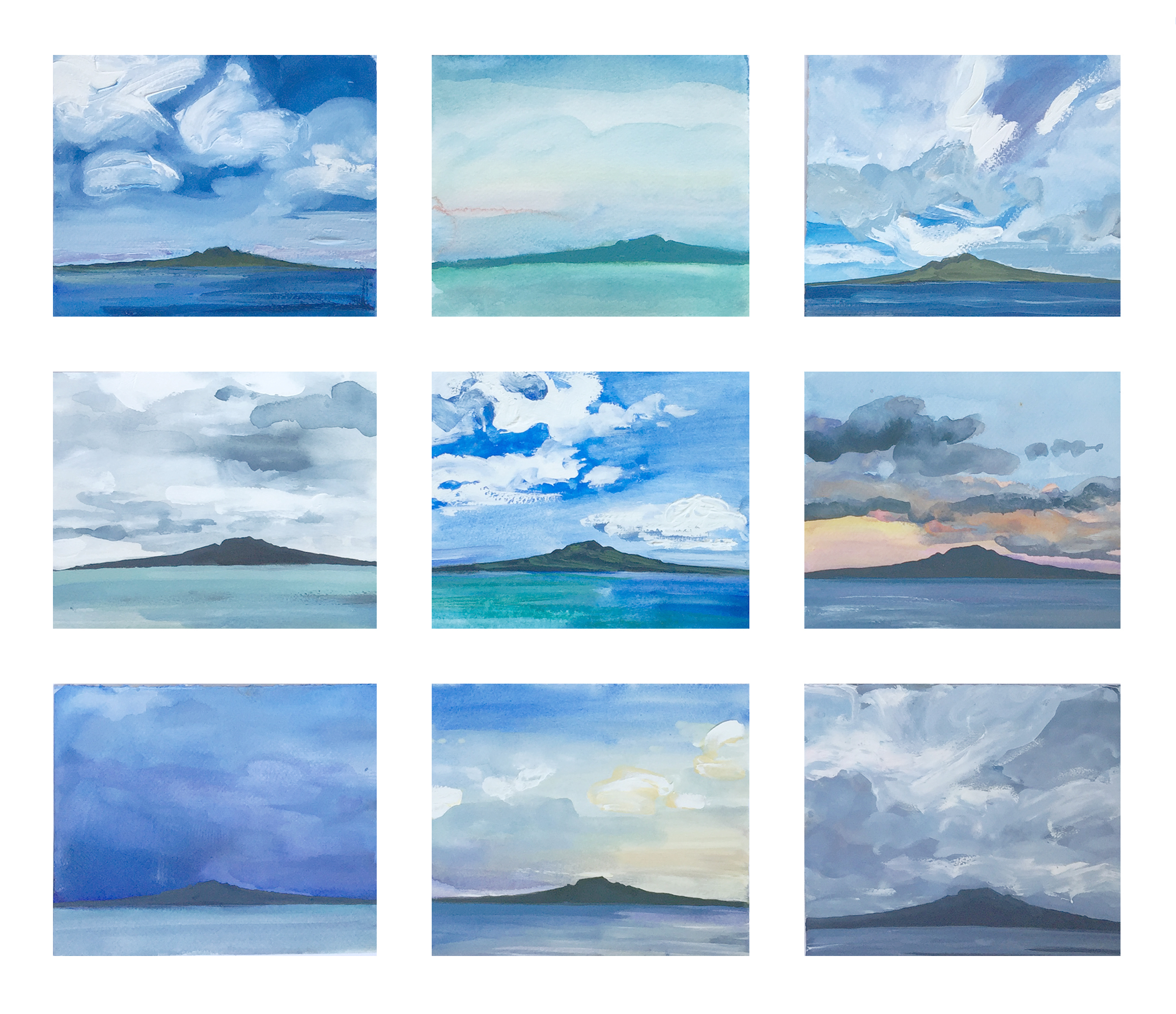 Rangitoto studies of weather and light # 3 framed series of 9 originals