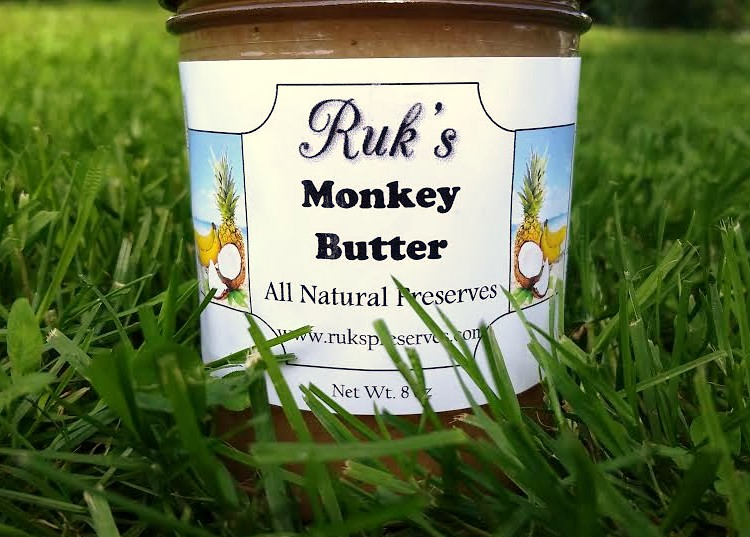 8 oz. Jar                       (January - December)    Monkey Butter is a fun and tropical flavor and its smooth spreadable consistency makes it great spread on toast or poured over vanilla ice cream!    Ingredients: Bananas, Pineapple, Sugar, Organic Coconut, Pectin, Organic Lemon Juice