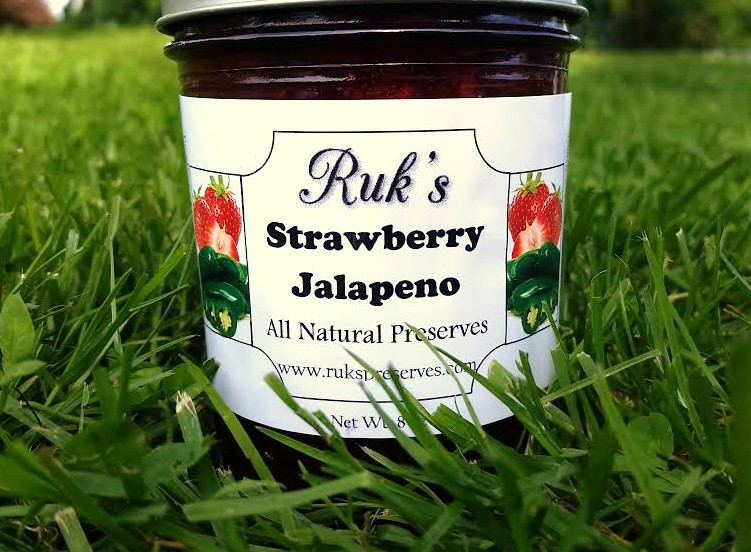 8 oz. Jar                  (January - December)    Strawberry Jalapeno combines all of the wonderful sweetness of the fresh strawberries with the sneaky heat of the fresh, homegrown Jalapeno peppers making it the perfect sweet and spicy preserve.    Ingredients: Strawberries, Sugar, Jalapenos, Pectin, Organic Lemon Juice