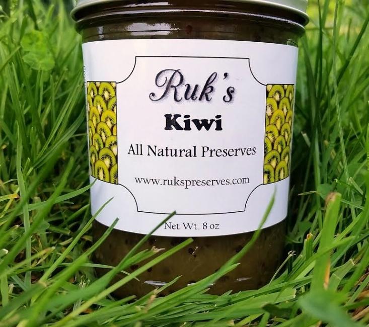 8 oz. Jar                              ( June-July)    This beautiful fruit turned beautiful preserve, is a refreshing addition to your morning breakfast toast!    Ingredients: Kiwi, Sugar, Pectin, Organic Lemon Juice