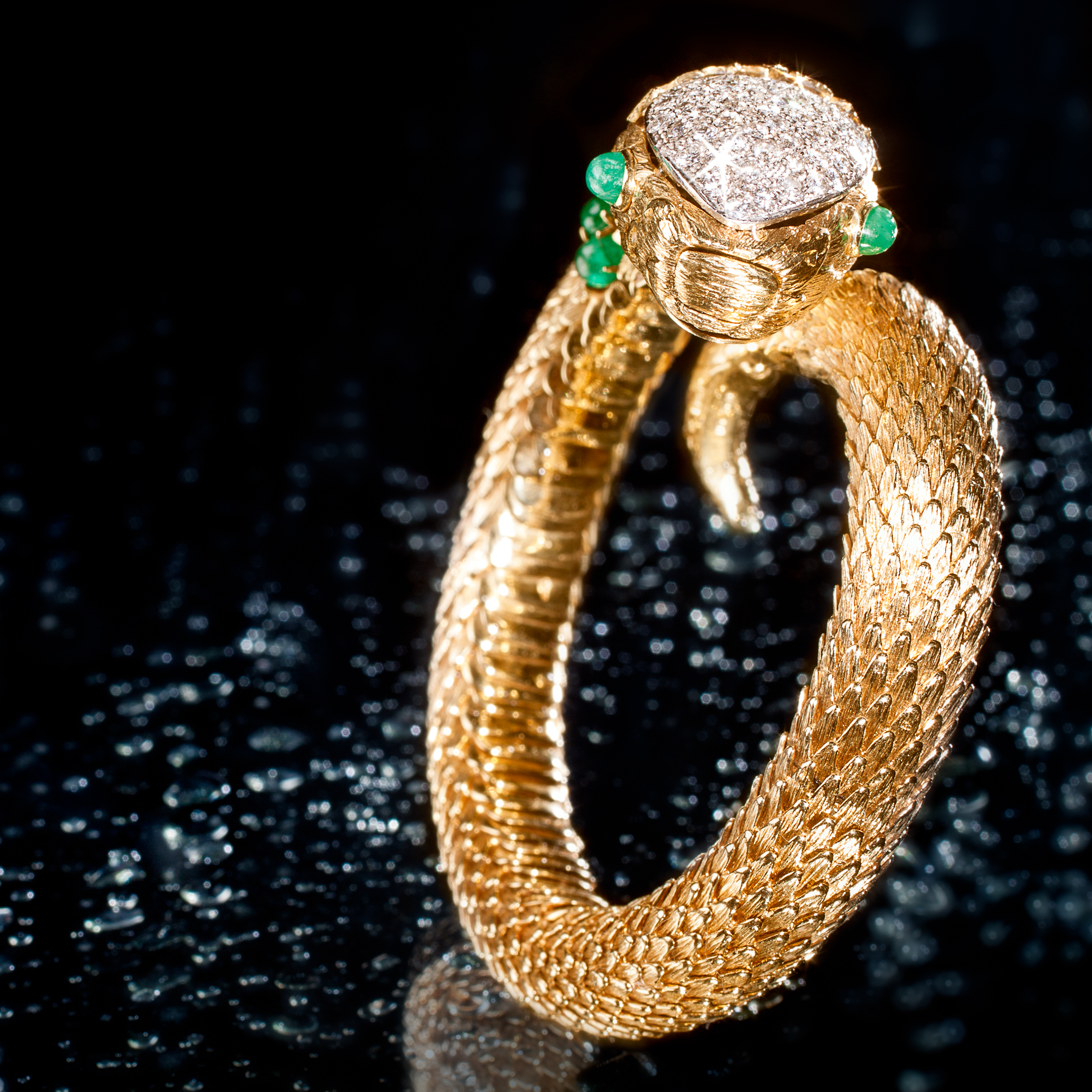 David Webb Diamond, Emerald and Gold Bracelet