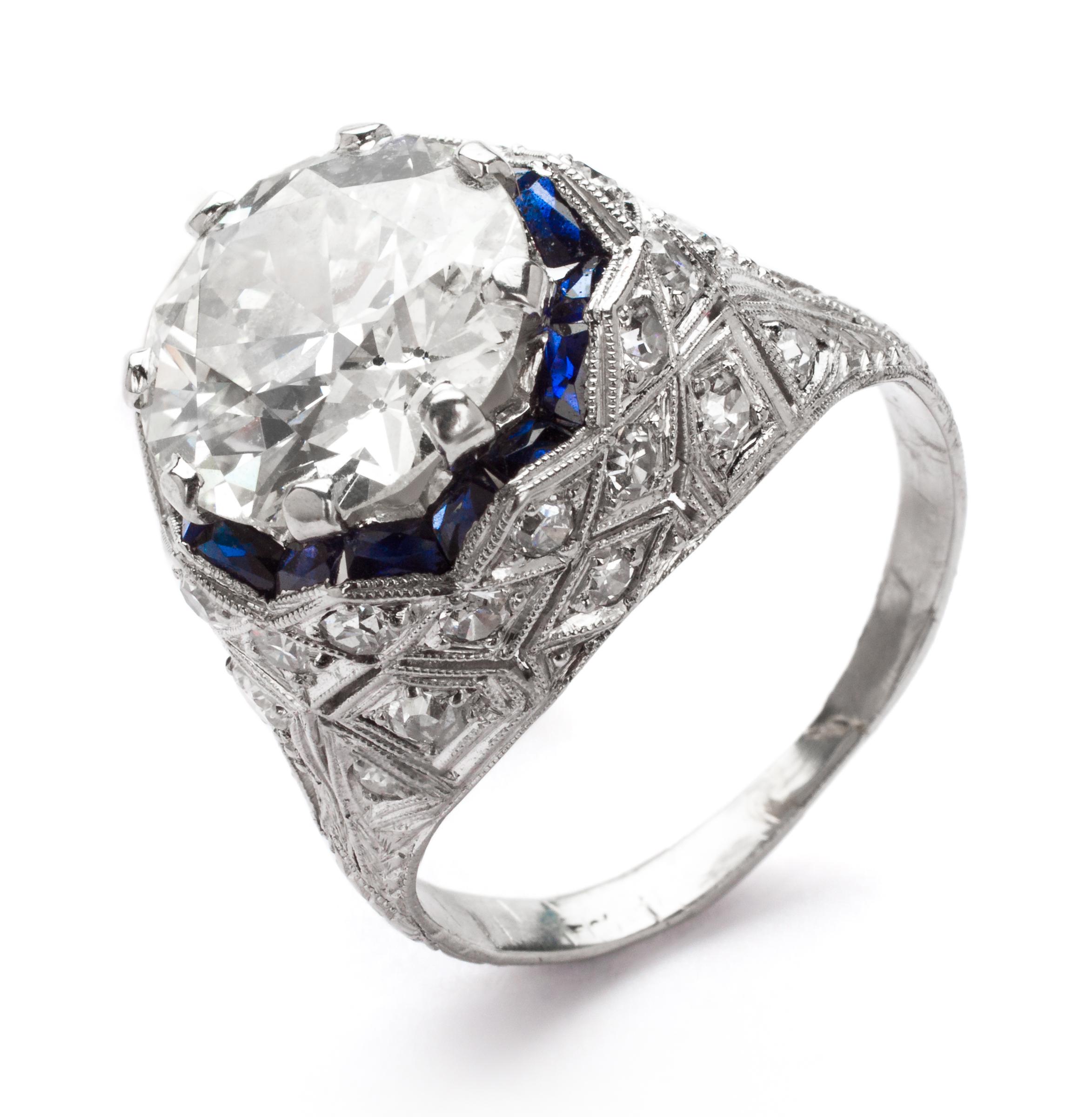 Art Deco Diamond and Platinum Engagement Ring