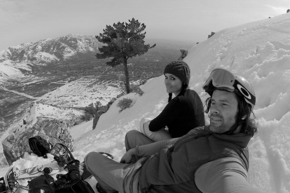 Sean and Manda, Ben Lomond face—west shoot decent.