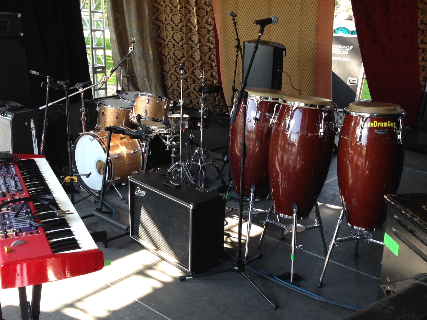 The '65 vintage Ludwig Super Classic set and congas that rounded out the backline for New Belgium's Tour De Fat in Denver's City Park.