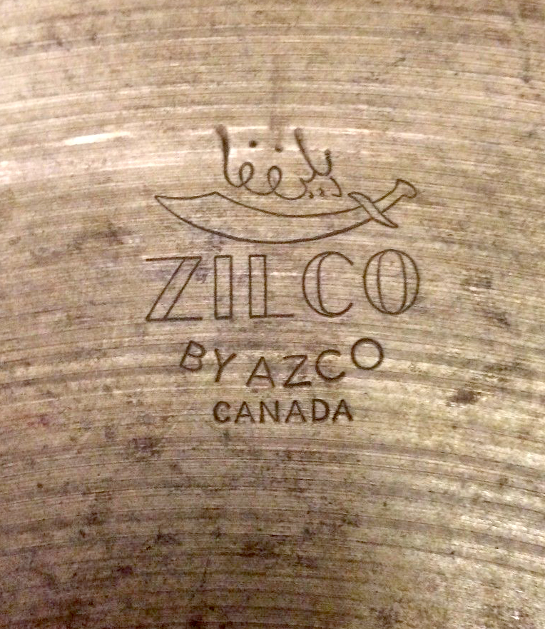 The Zilco by AZCO Canada stamp on the cymbal.