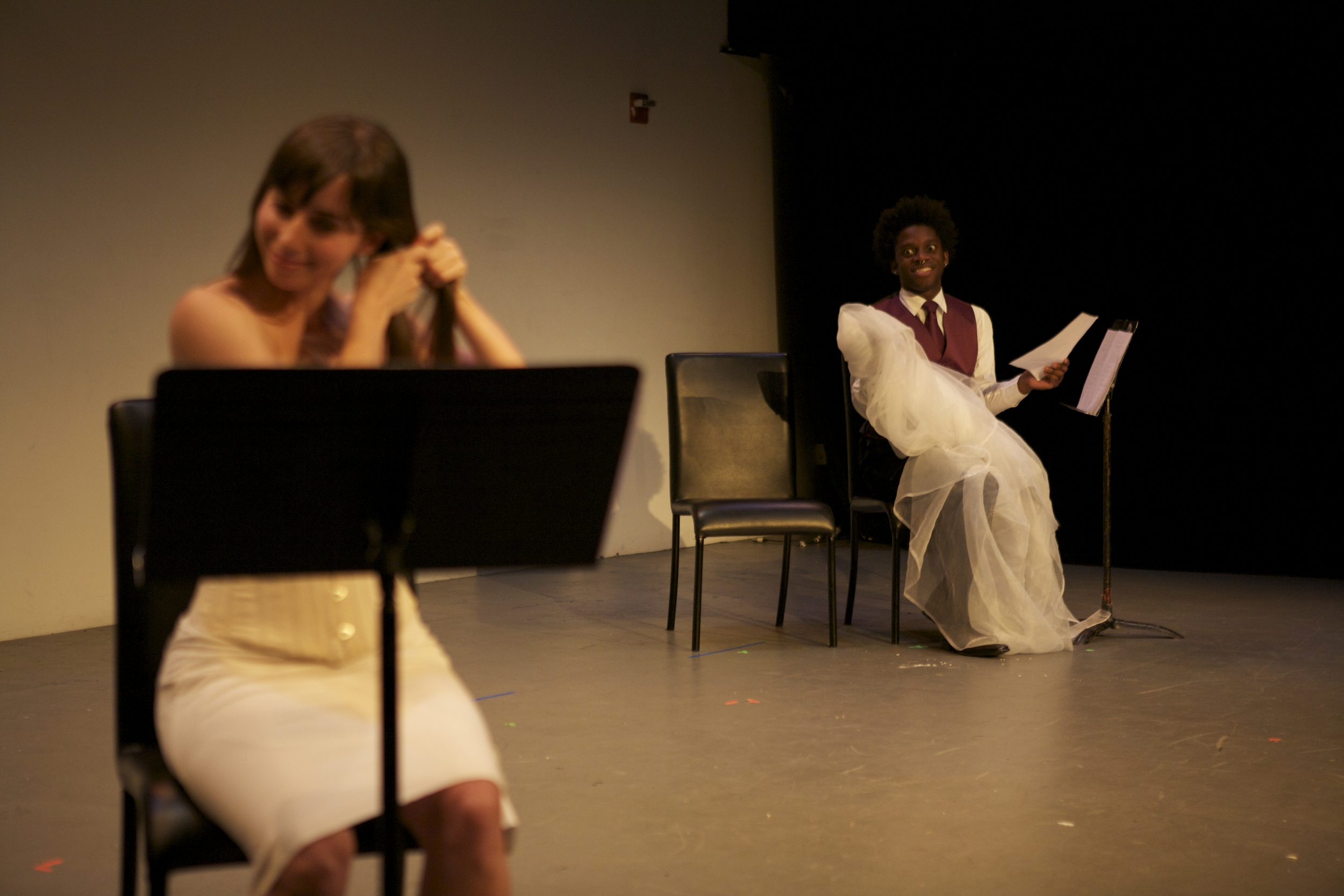 "Michelle Mola and Mikéah Ernest Jennings in ""All About Marriage"" Dixon Place, NYC, 2011"