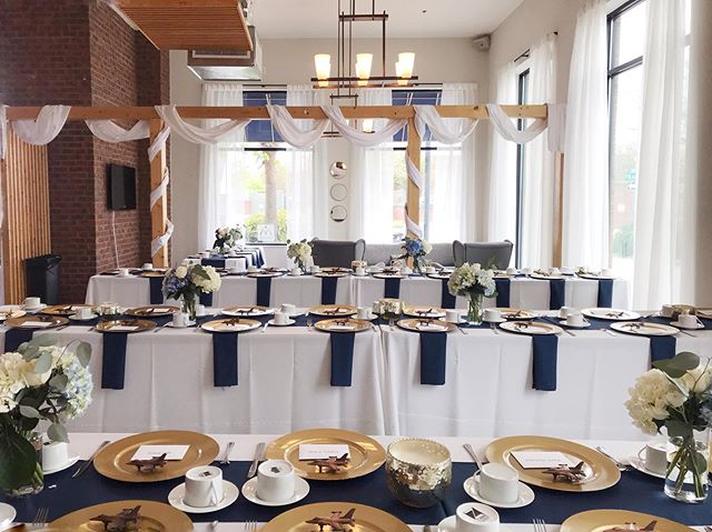 Our NEW curtains were hung just in time for a beautiful wedding yesterday. Love the navy with gold.