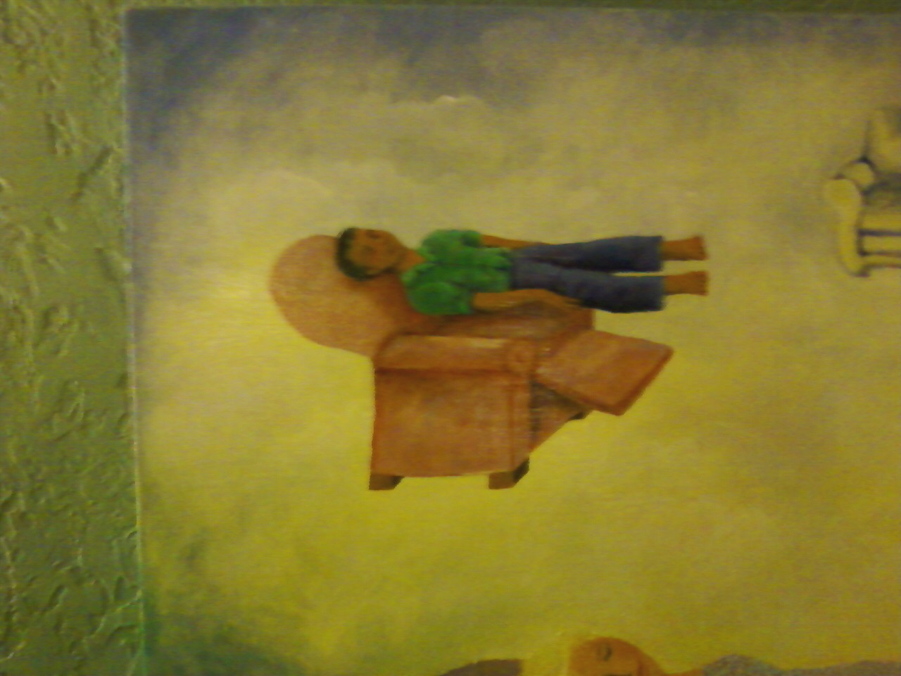 """Part of Nancy Norman's famous painting, """"Aculand,"""" that hangs in Working Class Acupuncture in Portland."""