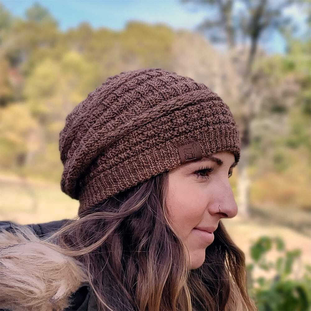 Textured Slouchy Grey Knit Hat