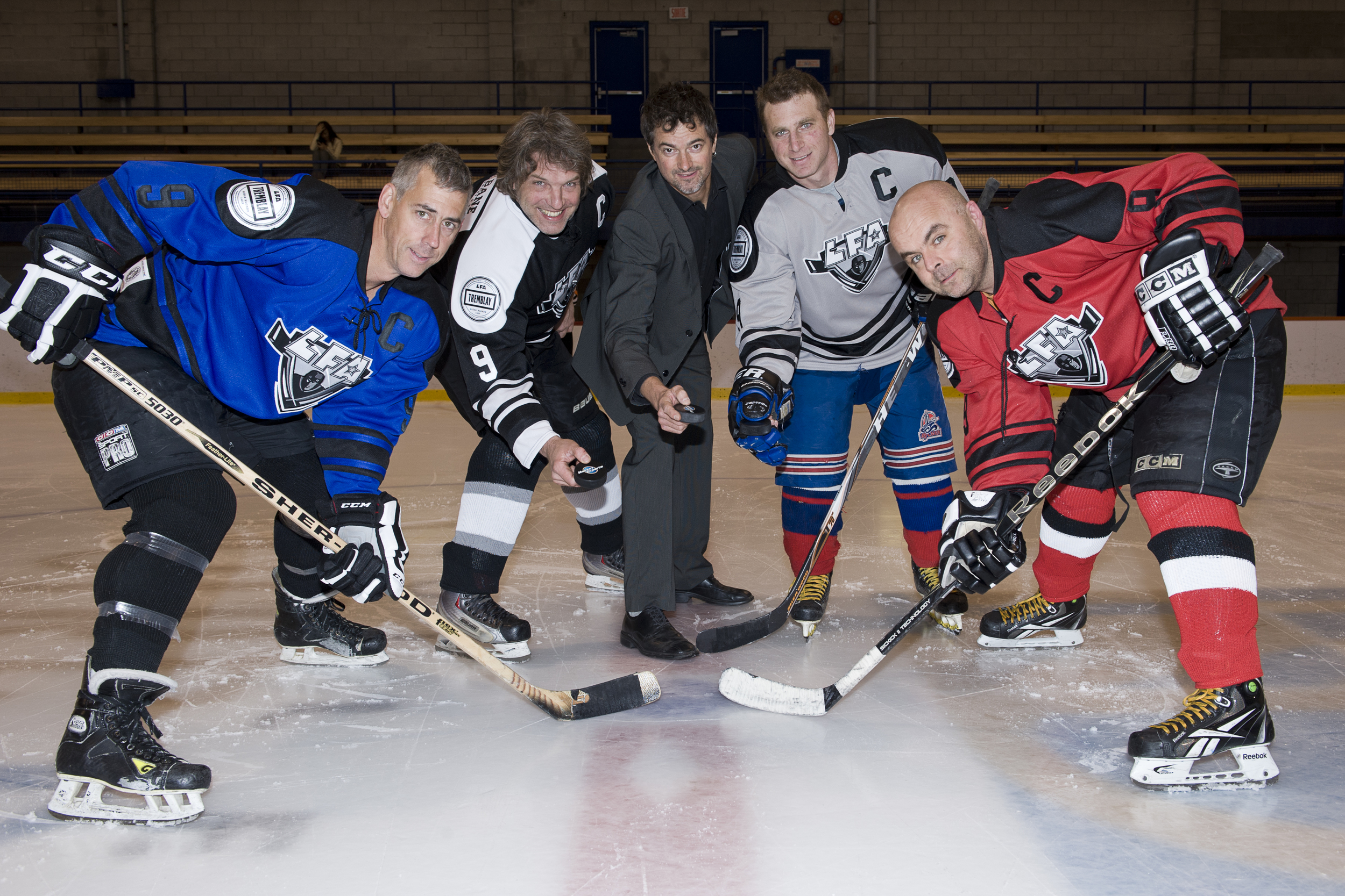 PUCK DROP BEFORE THE FIRST LFA GAME (FROM LEFT TO RIGHT) PATRICK BALDWIN,LArry,Jean-Francois DESBOIS,PHILLIPPE-MICHEL LANG & ERIC DRAPEAU