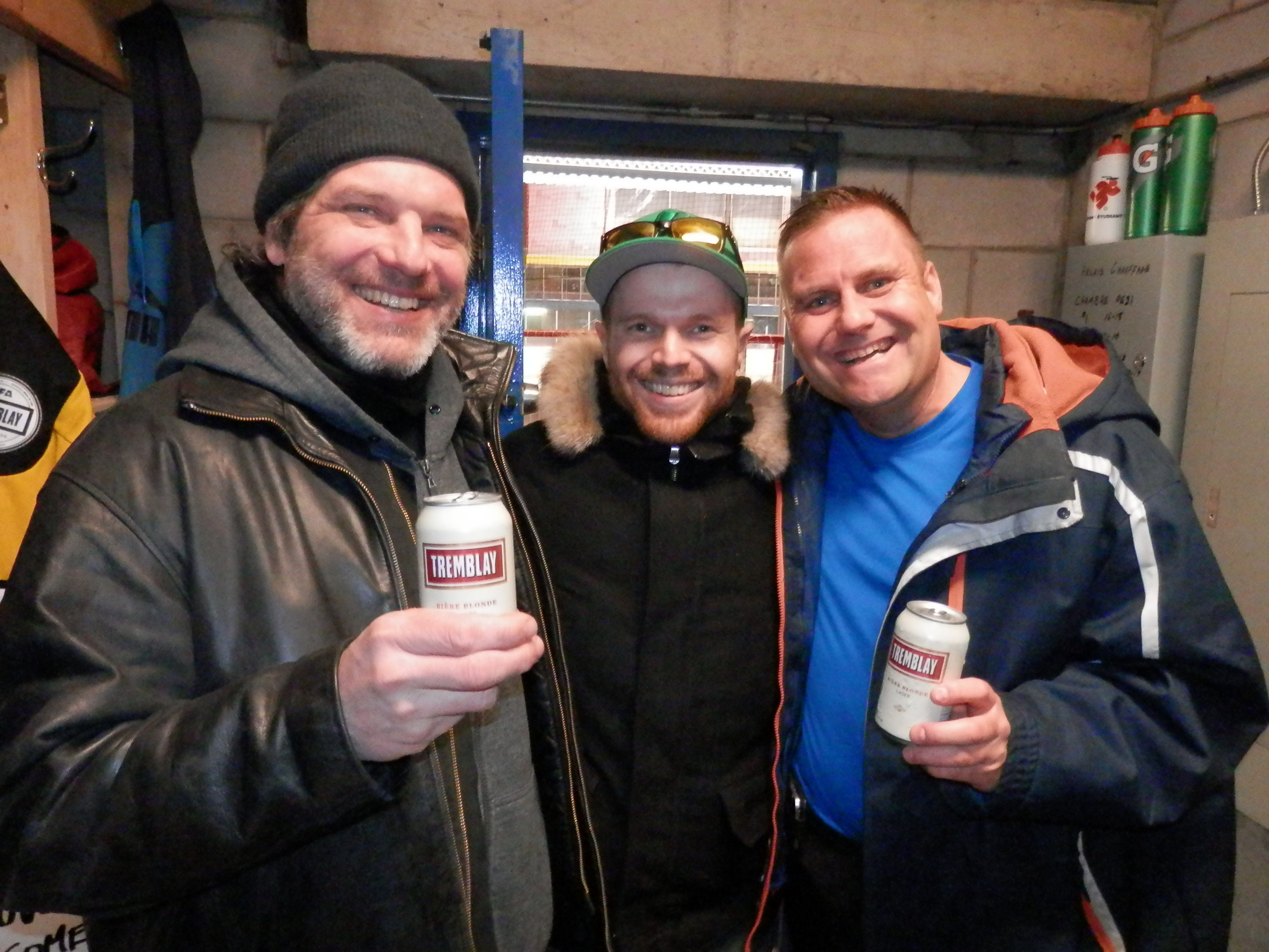 Larry from the shamrocks, jonathan from the logger & craig from the avengers in a post game ritual done by most of our members where tremblay beer & good sportsmanship go hand in hand (photo jfd)