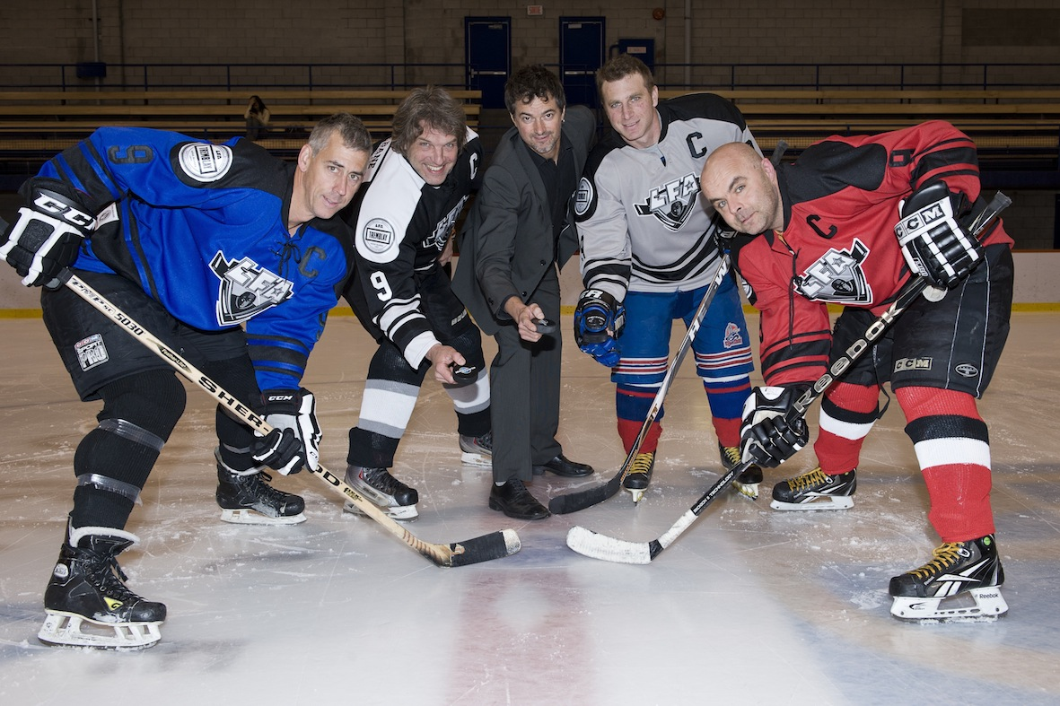 PUCK DROP at the inaugural game of the lfa held, september 14th 2013 (FROM LEFT TO RIGHT) PATRICK BALDWIN, LAurent quesnel ,JEAN-FRANCOIS DESBOIS,PHILLIPPE-MICHEL LANG & ERIC DRAPEAU (photo Bruno petrozza)