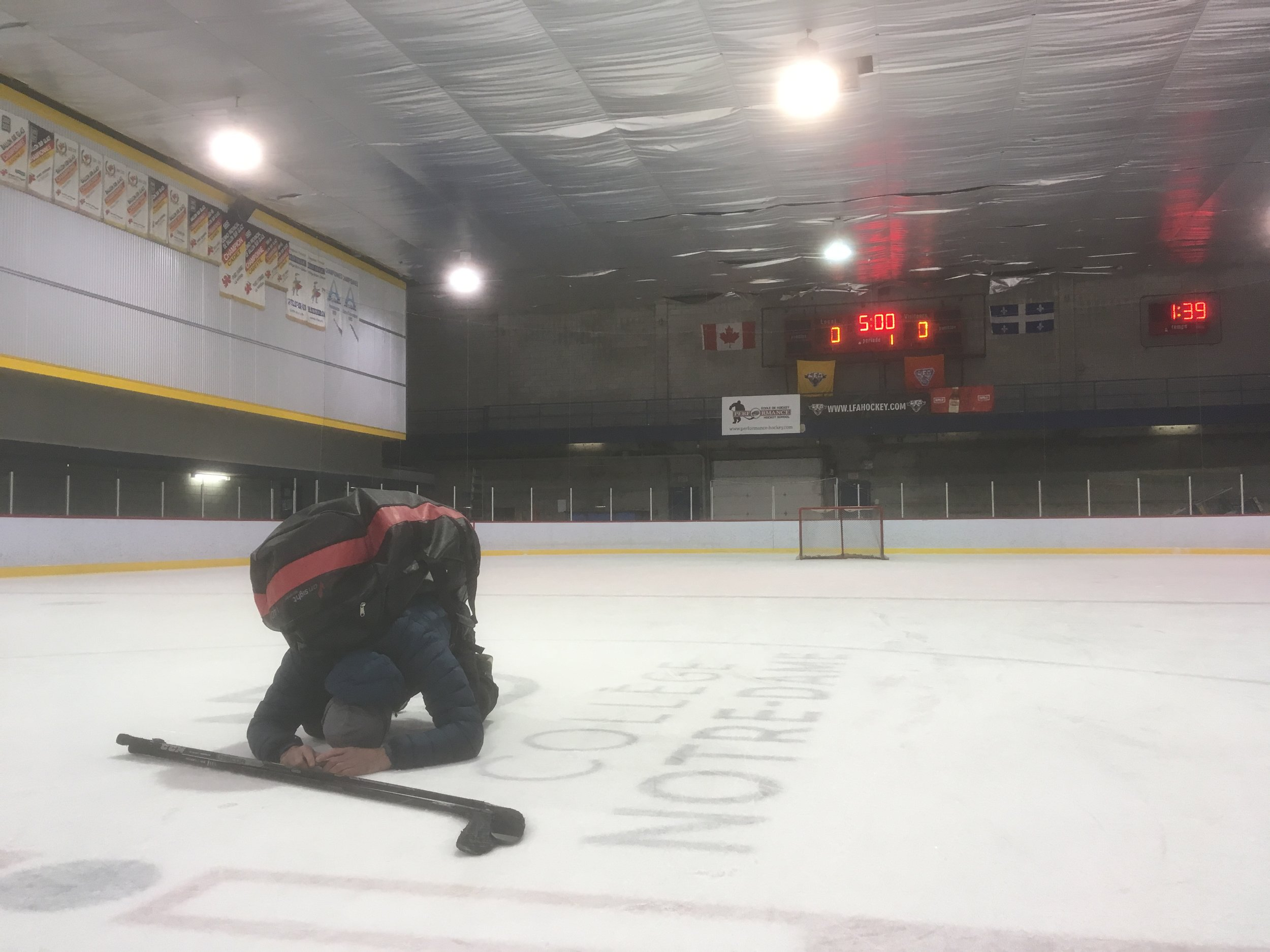 The Vipers, michael wees last Saturday before his game, calling on the spirits of the hockey gods for a needed victory. Better luck next year buddy, but nice try! (JFD photo)