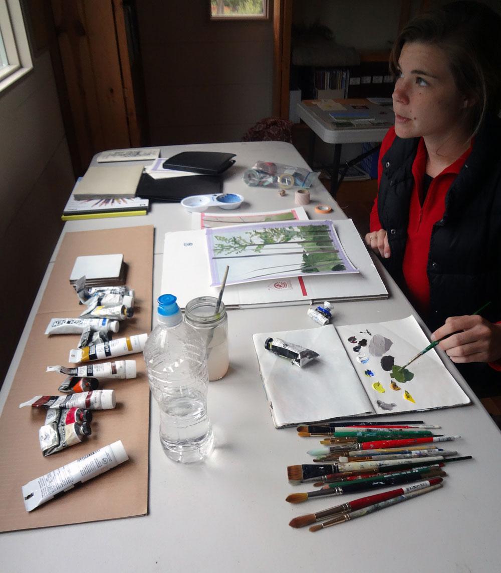 Artist in Residence Greta Van Campen working in the Meg Hunt Studio