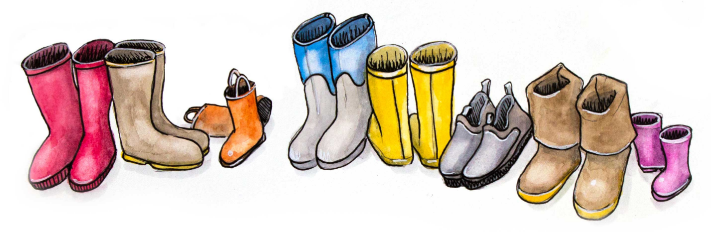 Row of spring boots. Art by Kristin Link