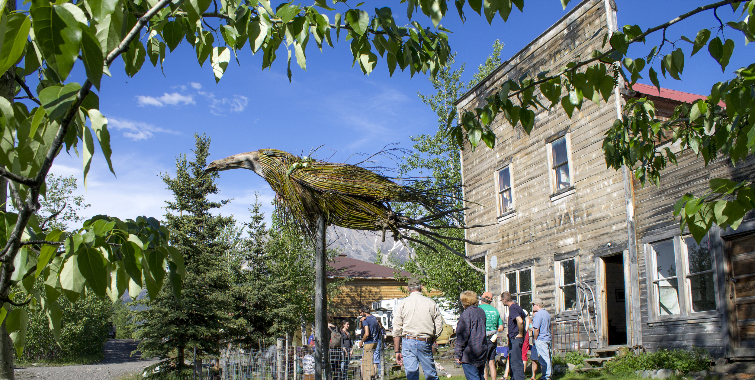2014 Meg Hunt Resident, Joe Barrington's, raven sculpture in front of the Wrangell Mountains Center