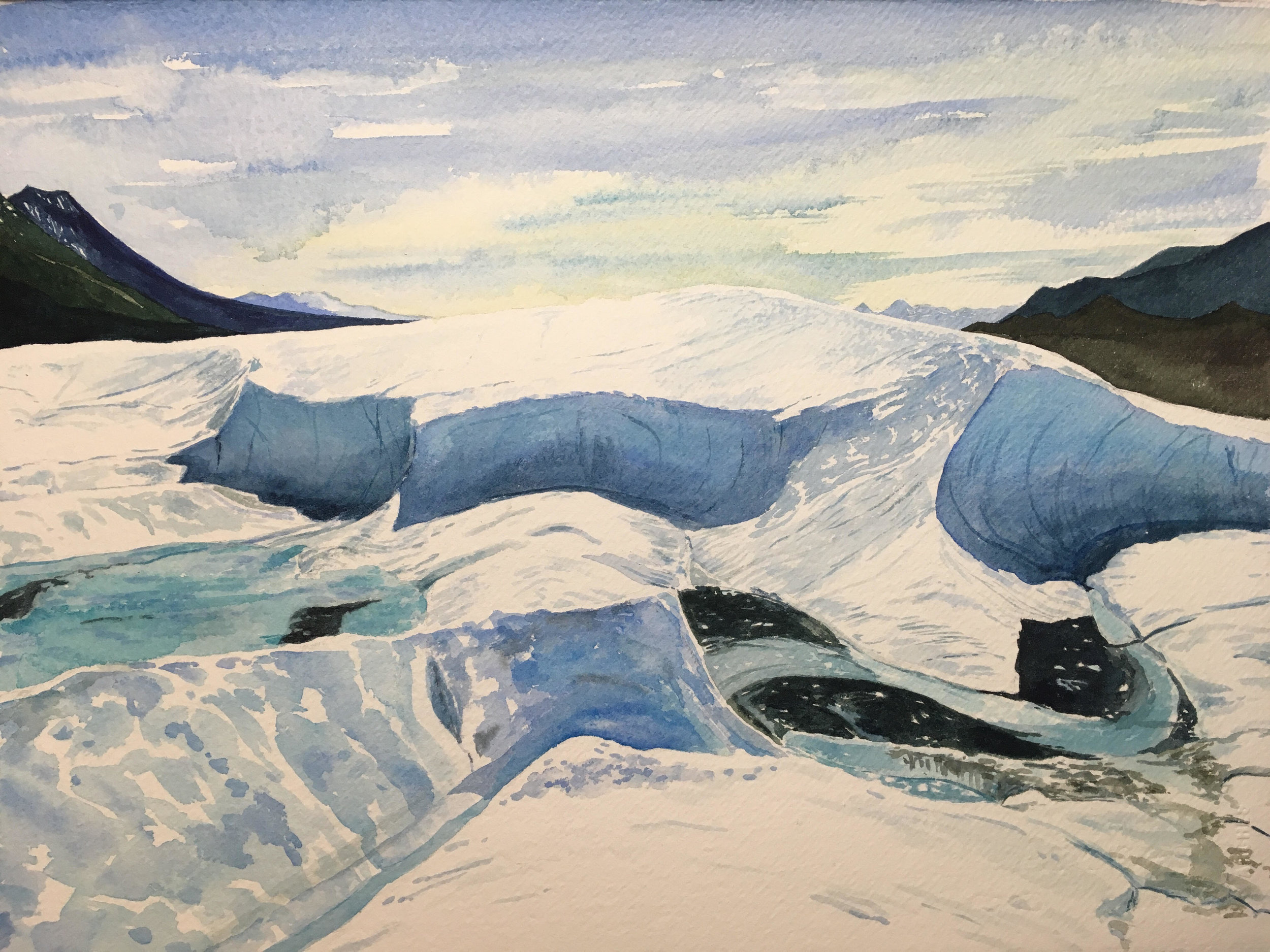 """Watercolor of the Root Glacier, 11x15"""" - Meredith Leich"""