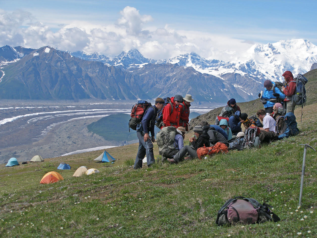 Students learn alpine plant ecology at a high mountain campsite in the back-country of the park.