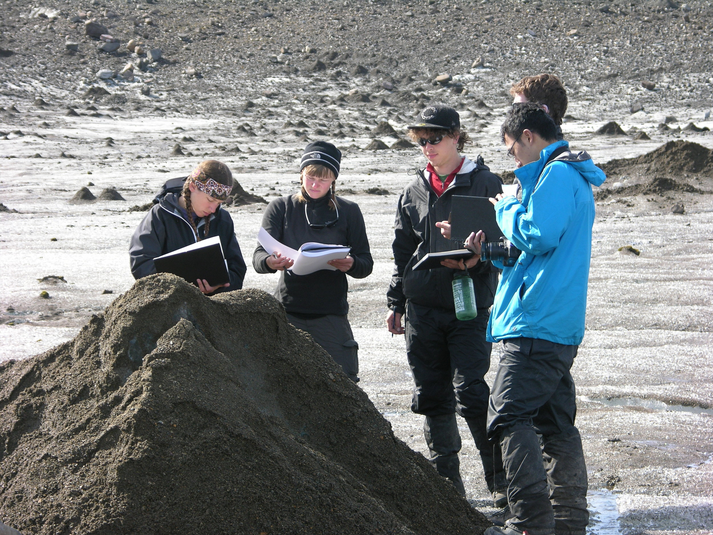 Students investigate some interesting glacial features