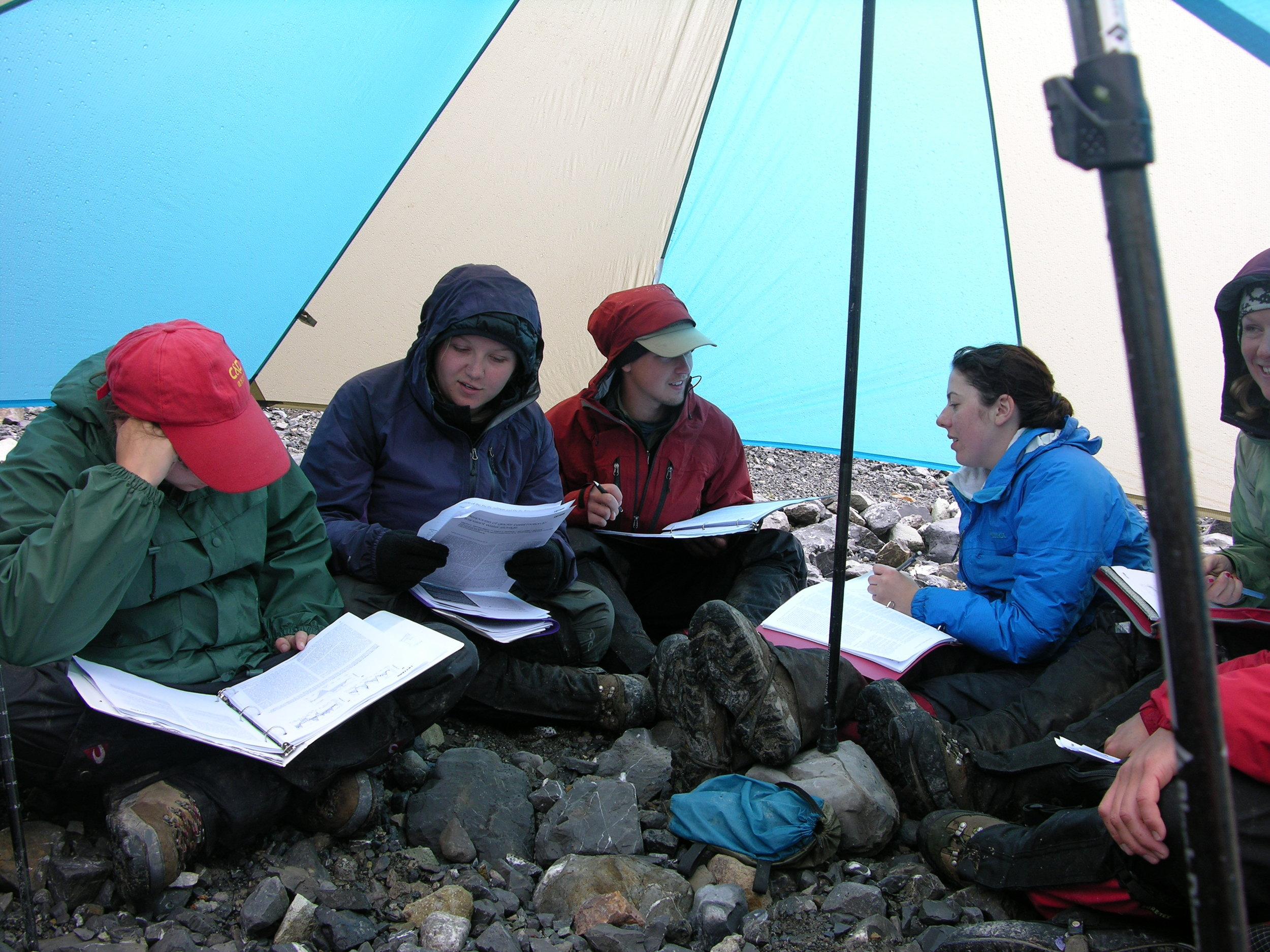 Field studies students study in the Alaska back country