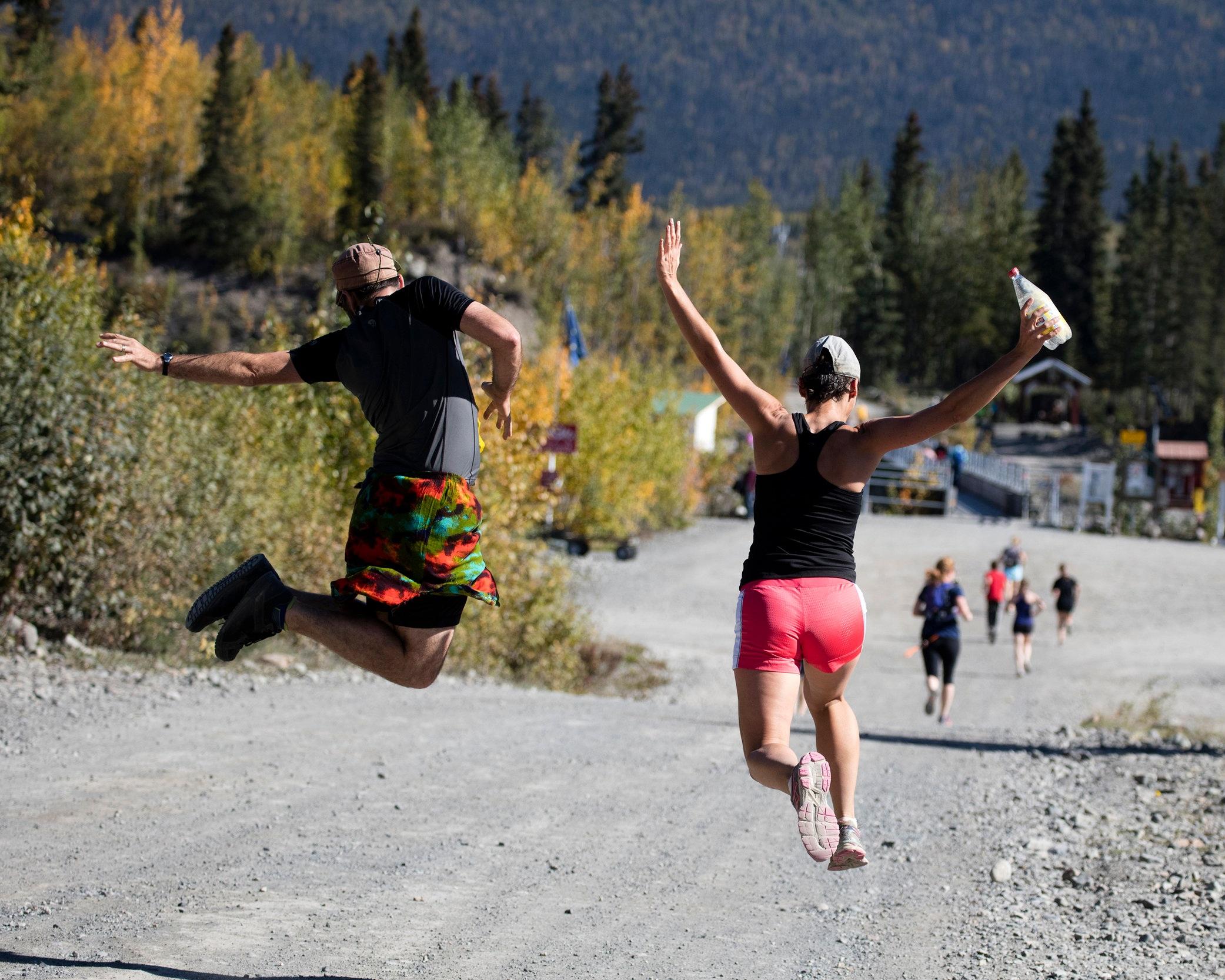 Runners in the McCarthy Marathon near the half-way point in Kennicott