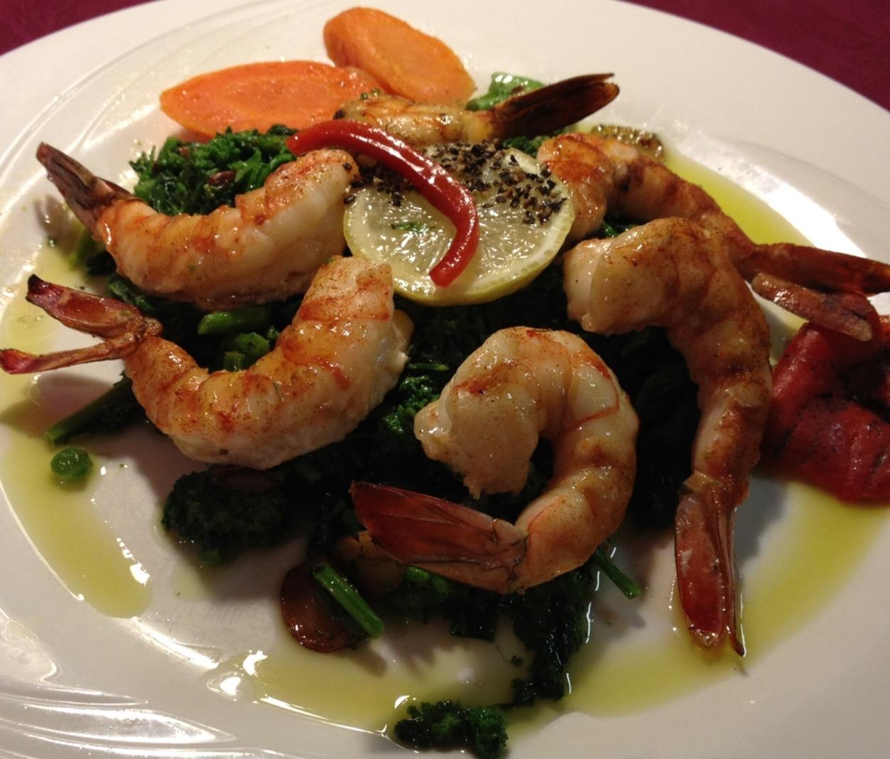 Baked Shrimp (6) with White Wine, Olive Oil and Lemon  over Sautéed Broccoli Rabe...Pepper Relish