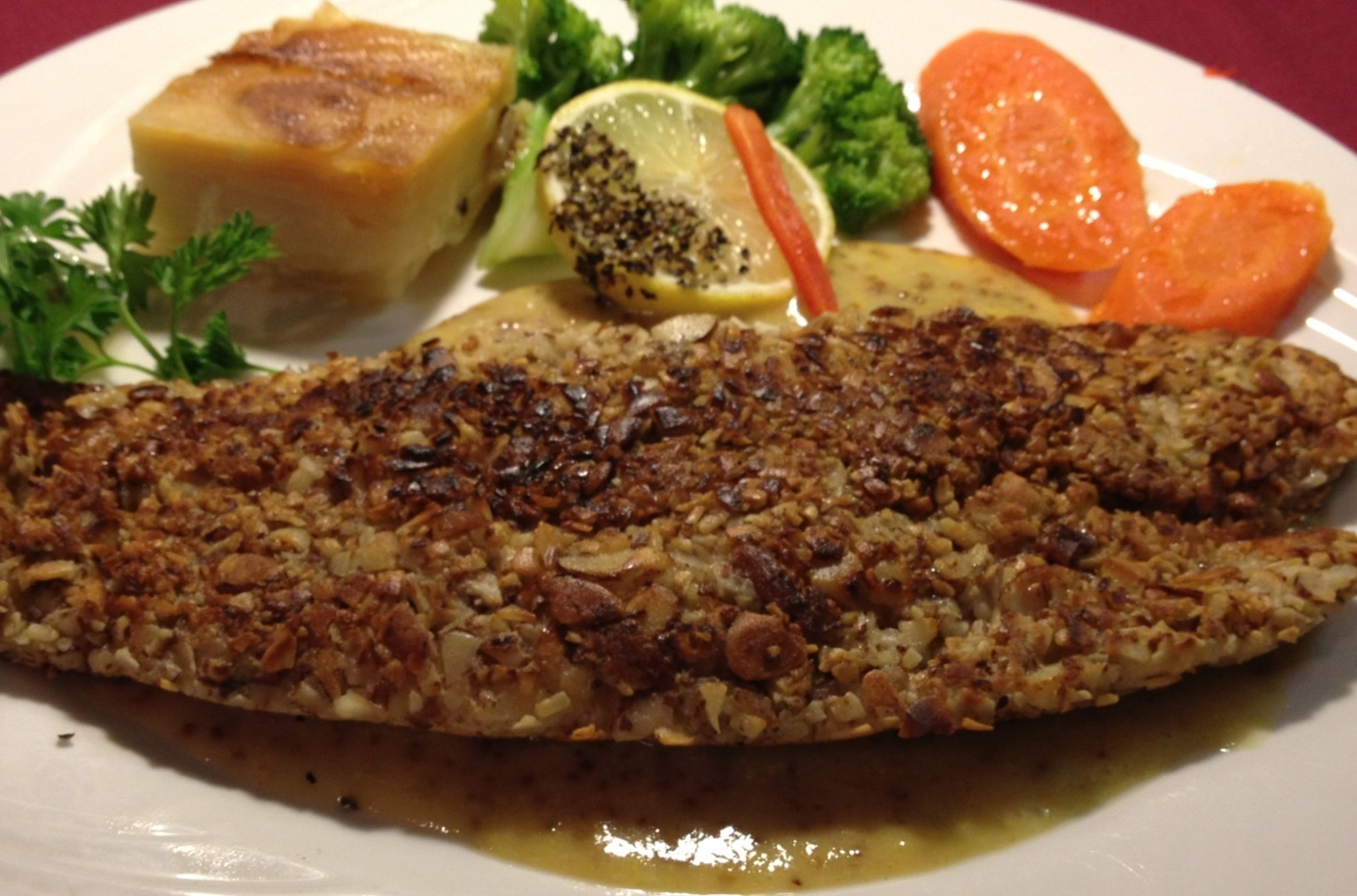 Almond Crusted Sole Fillet with Warm Honey-Mustard Sauce