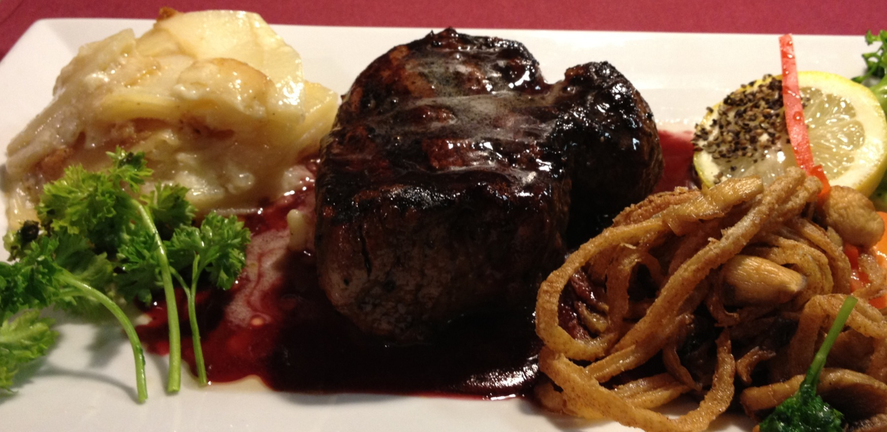 Grilled Mignon(9oz.) with Merlot Wine Reduction, Sizzled Mushrooms-Onions...Whipped Potatoes