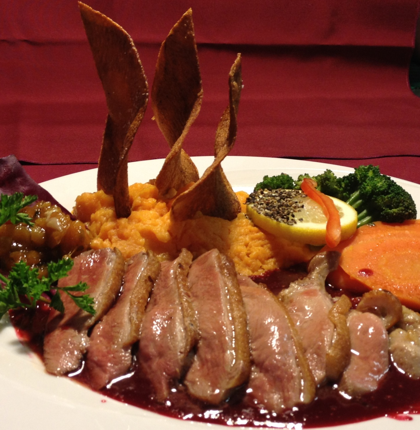 Pan-Seared Duck Breast with Port Wine-Raspberry Sauce, Mashed Sweet Potatoes