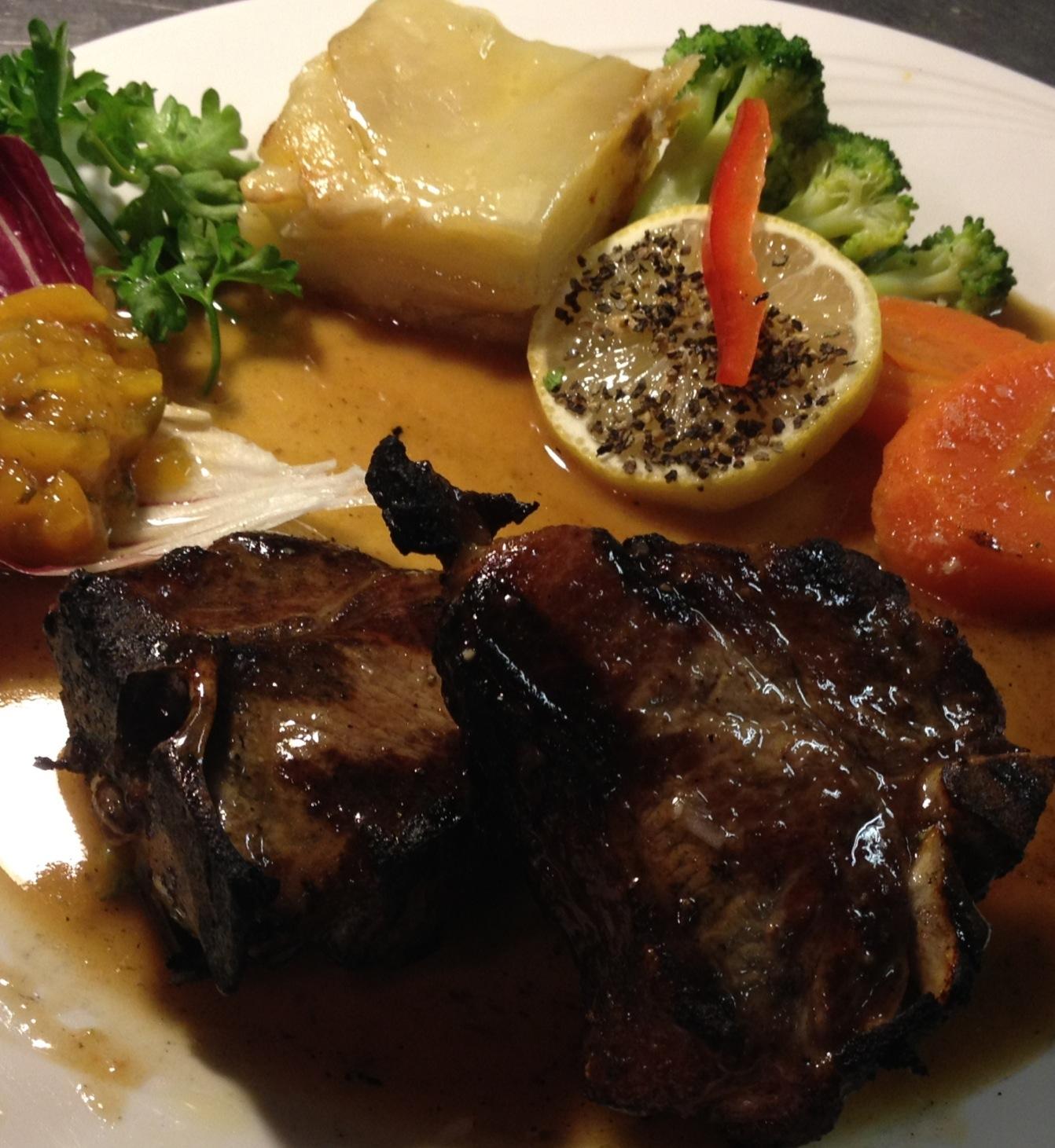 Pan-Seared Loin Lamb Chops with White Wine, Garlic,  Fresh Rosemary and Lemon...Demi-Glace'