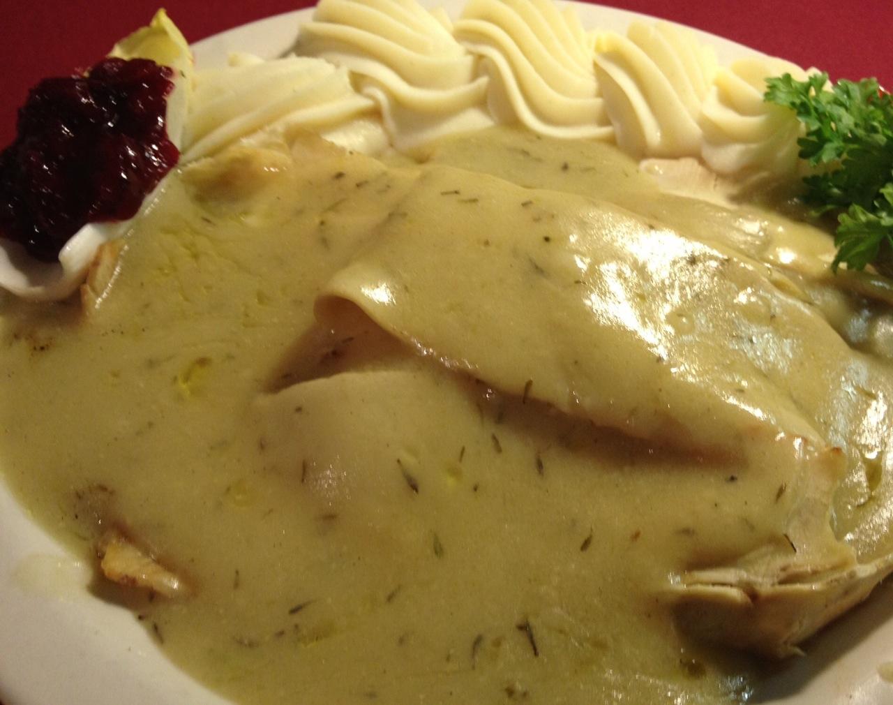 Roasted Hot Turkey Sandwich with Homemade Gravy ...Salad