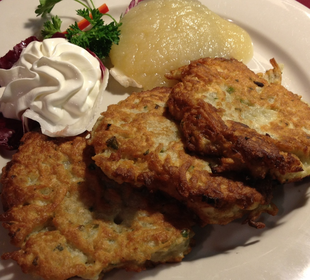 Potato Pancakes with Apple Sauce and Sour Cream