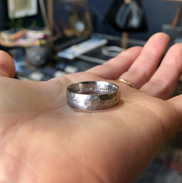 Hand Forged Platinum Comfort Fit Wedding Band Quercus Raleigh Custom Engagement Rings