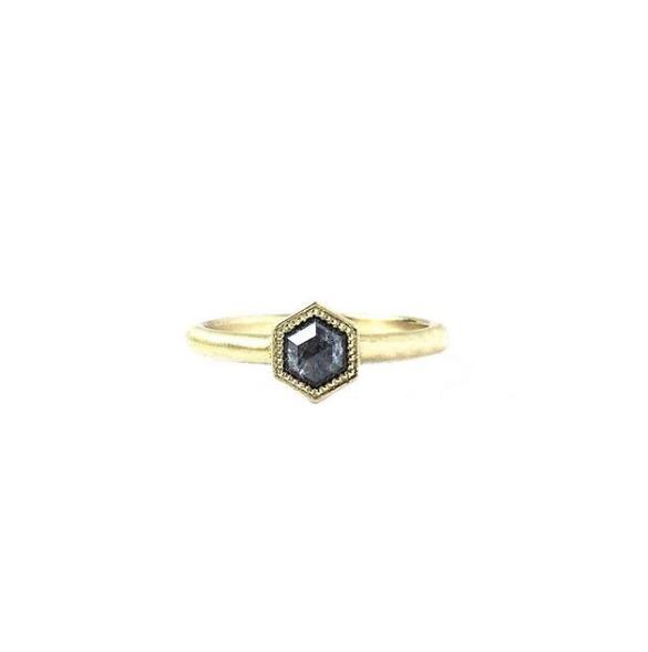 Salt Pepper Hex Diamond Ring