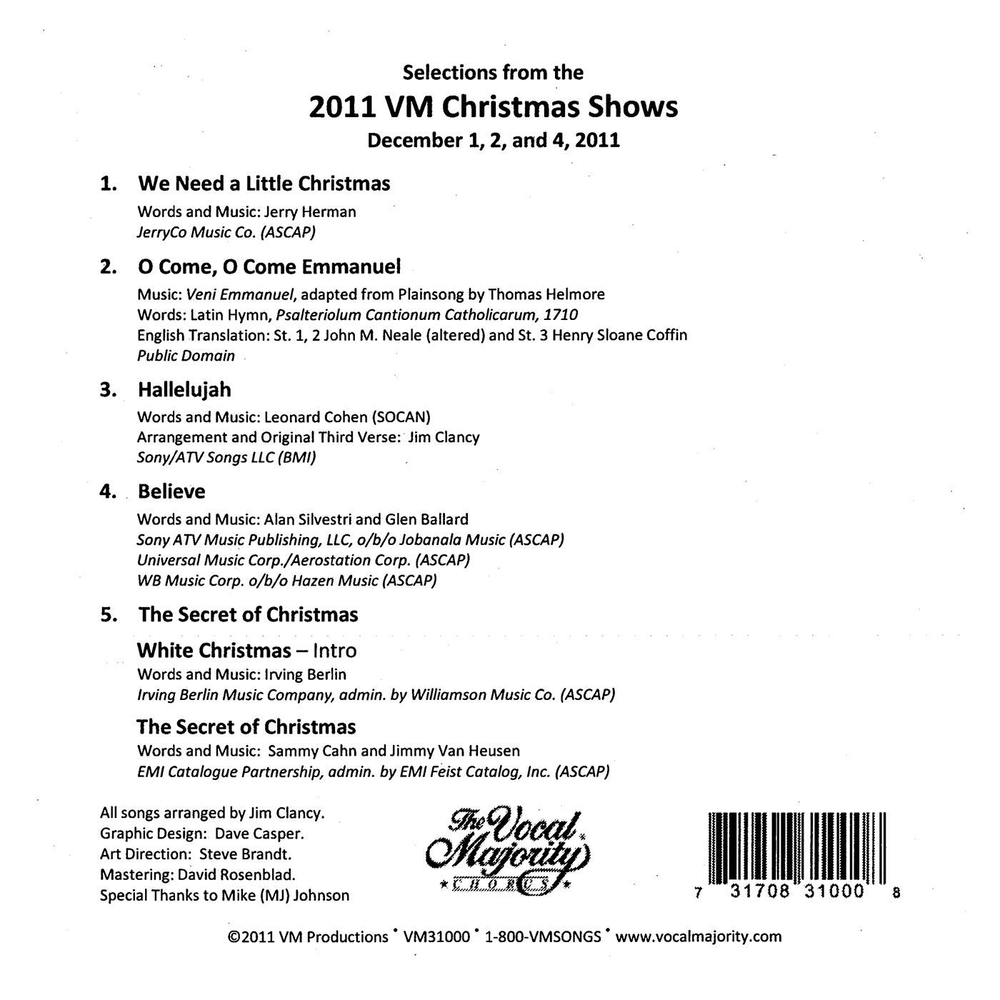 Song List: 2011 Christmas Show