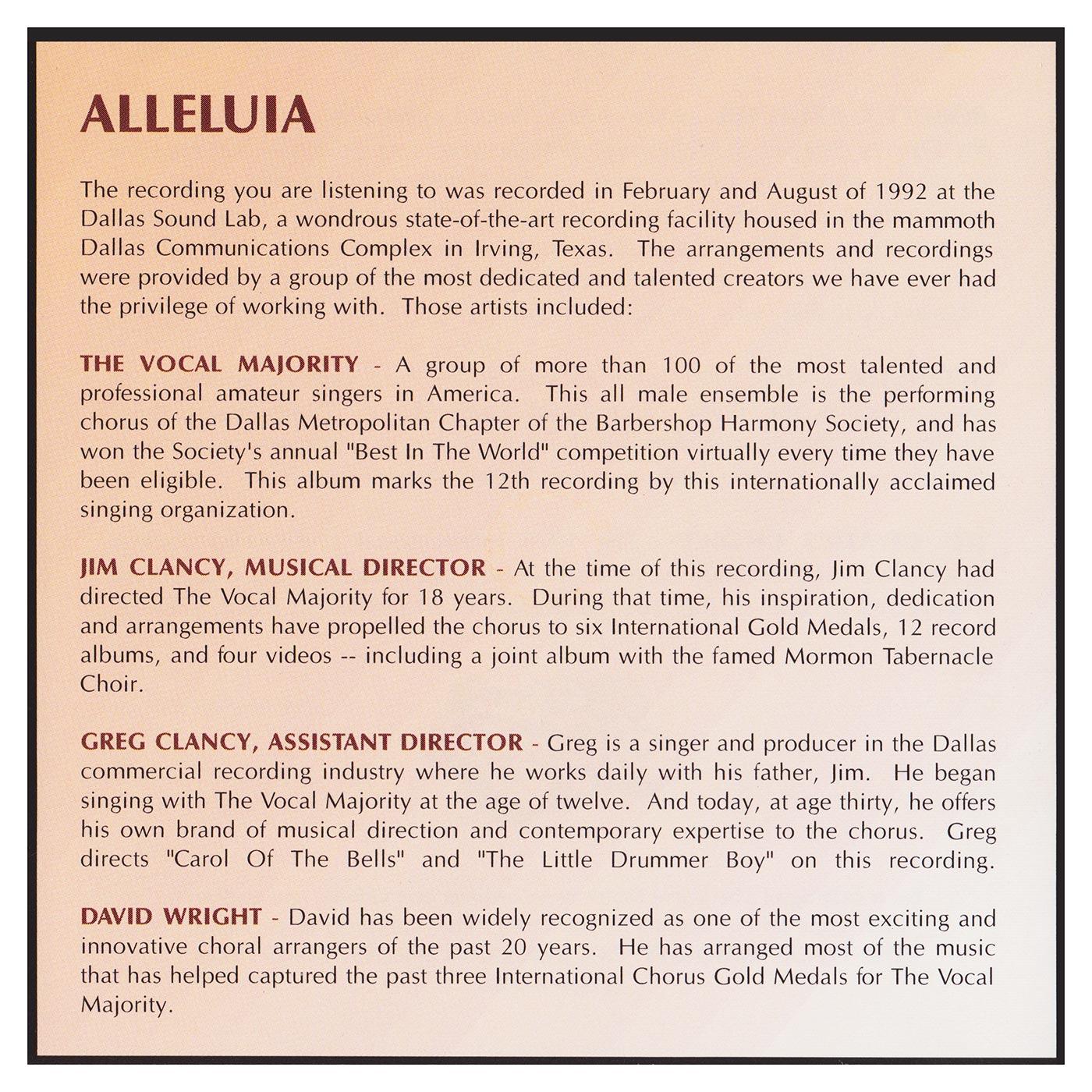 Back Panel: Alleluia