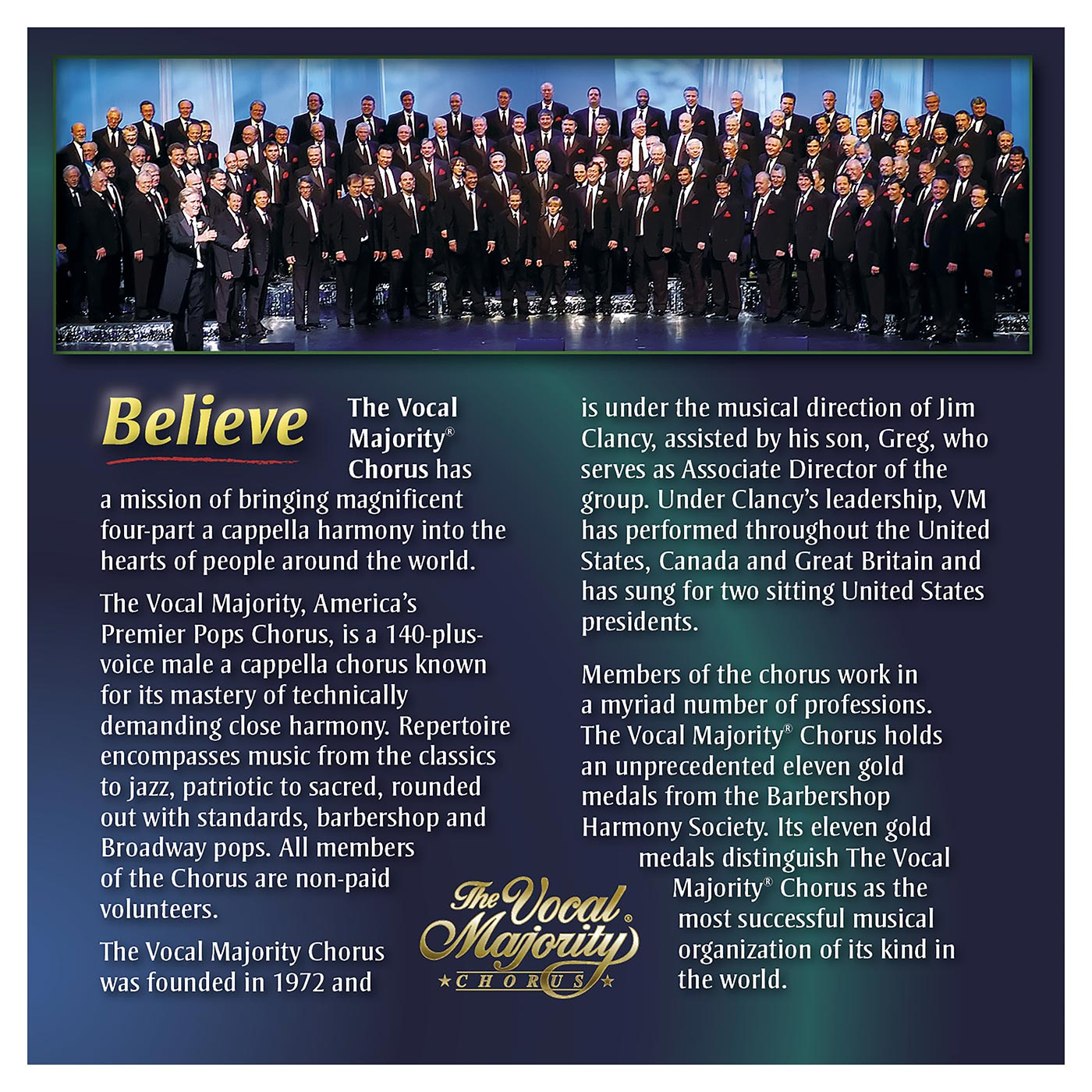 Booklet Outside Back Panel: Believe