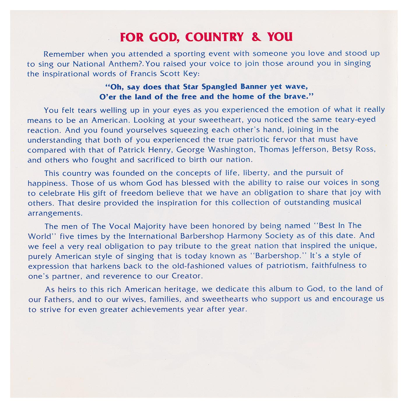 Booklet Inside Left Panel: For God, Country, and You