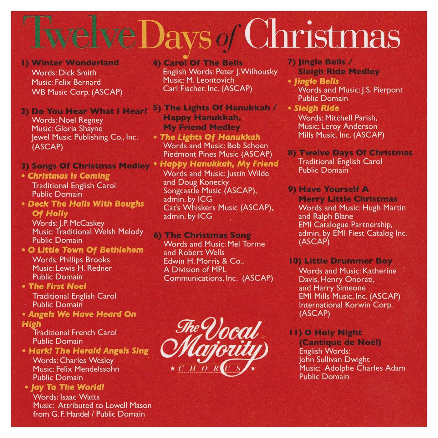 Booklet Outside Back Panel: Twelve Days of Christmas