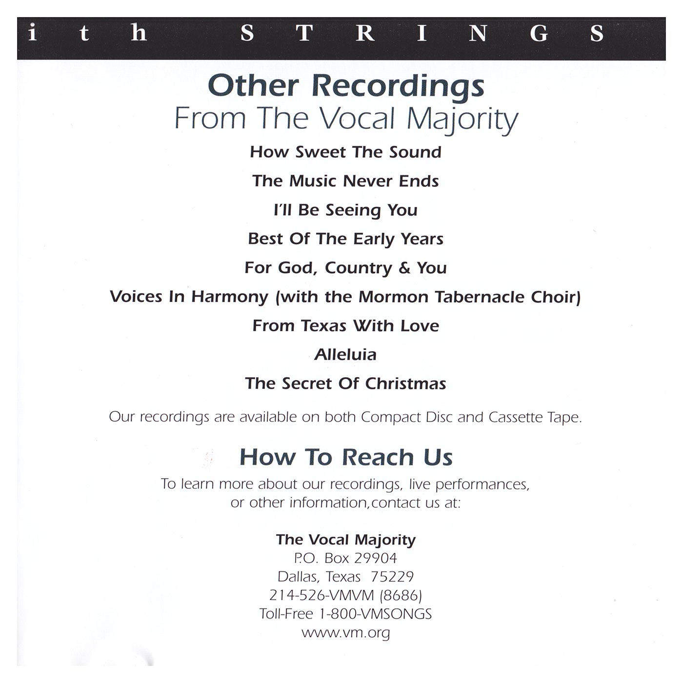 Booklet Inside Right Panel: VM with Strings Vol. 1