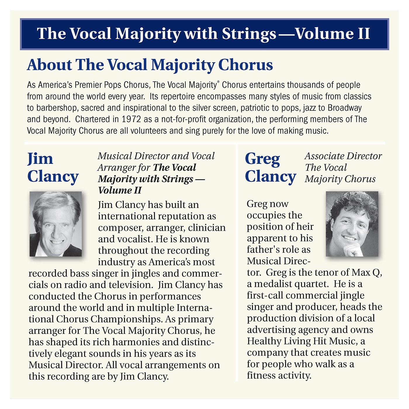 Booklet Inside Left Panel: VM With Strings Vol. 2