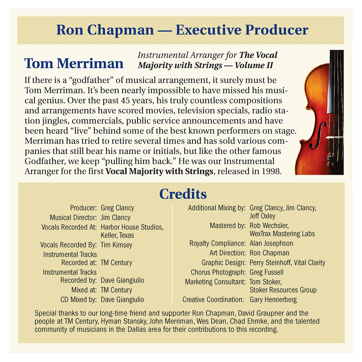 Booklet Inside Middle Panel: VM With Strings Vol. 2