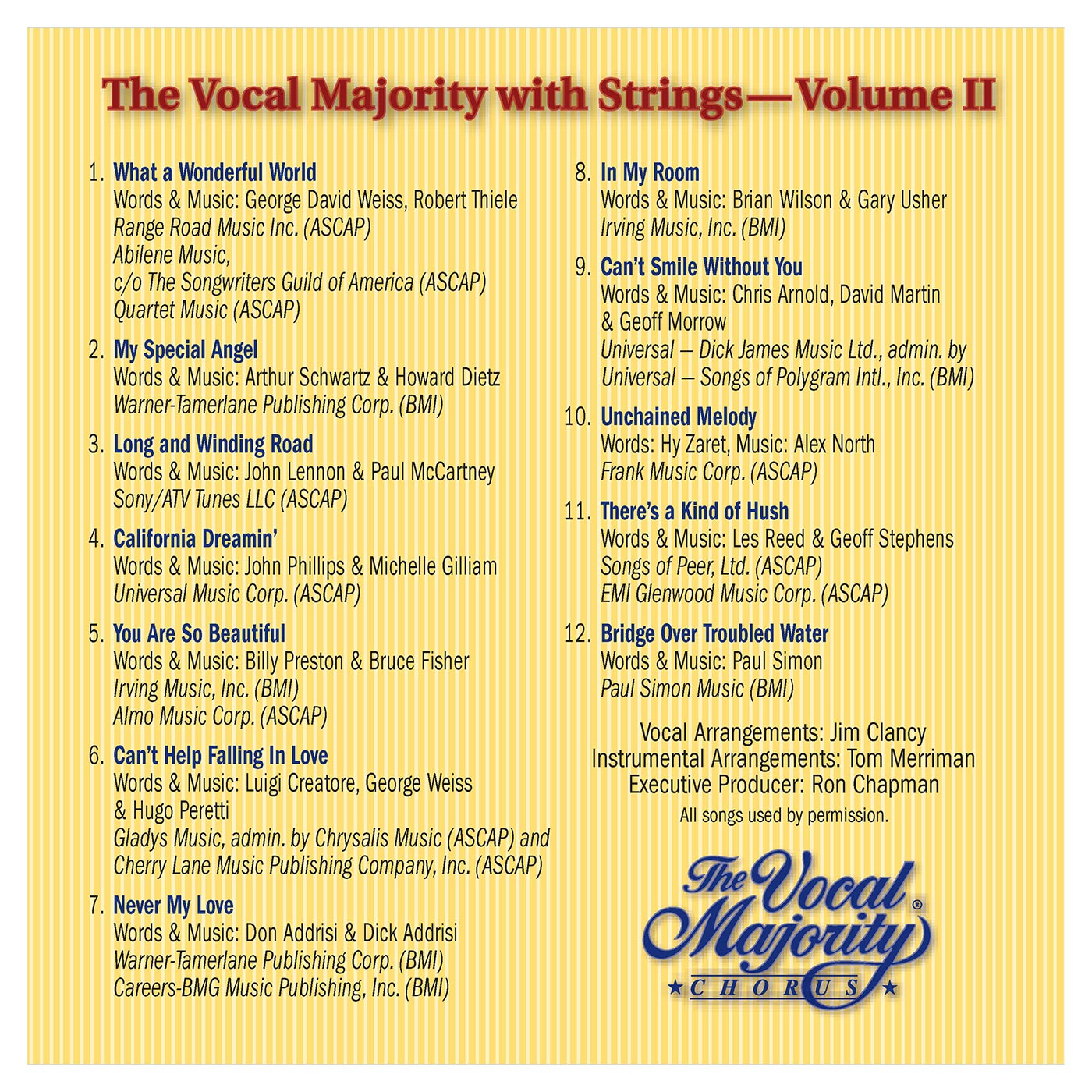 Booklet Outside Back Panel: VM With Strings Vol. 2