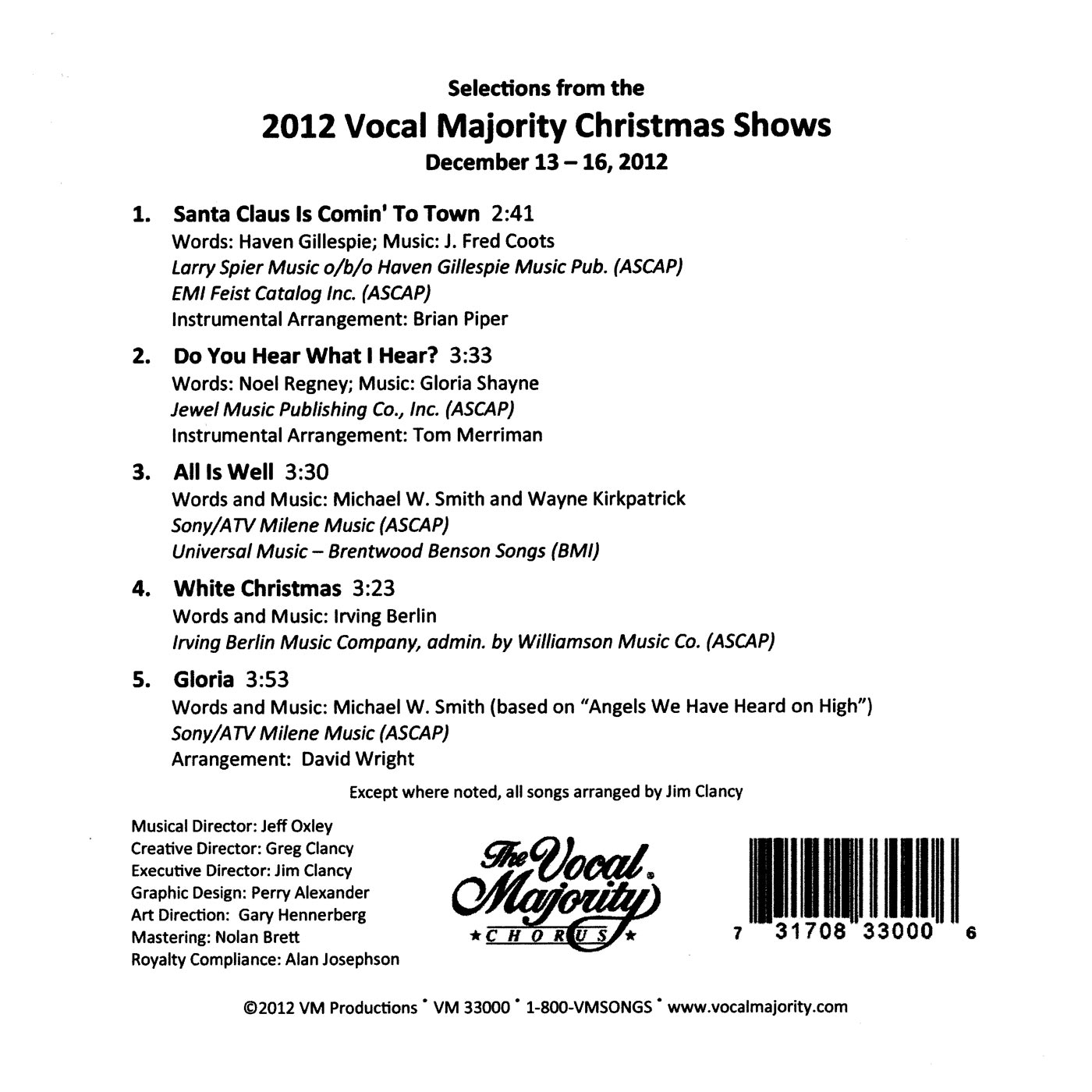 Song List: A Christmas at the South Pole