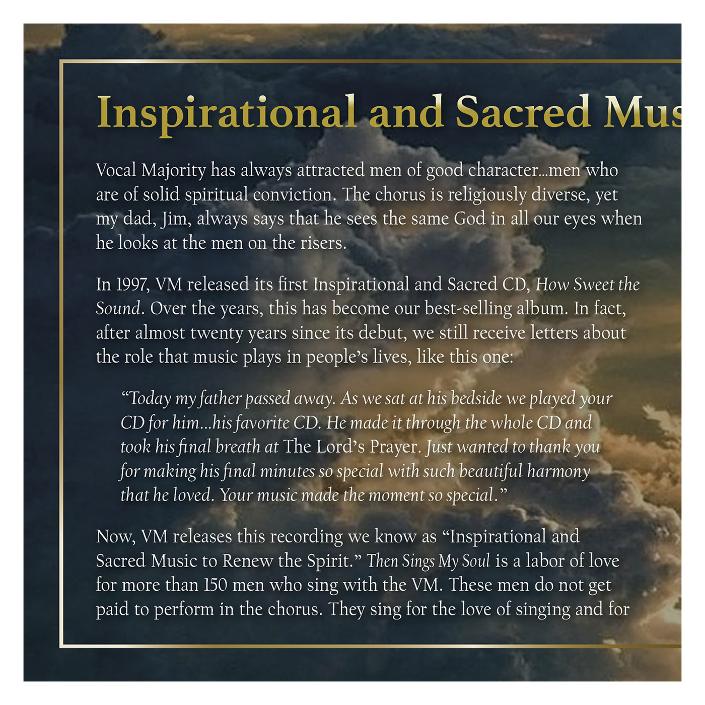 Booklet Inside Panel 1 of 4: Then Sings My Soul